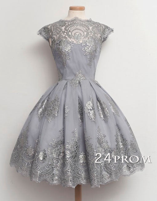 Retro Ball Gown Short Lace Prom Dresses,Homecoming Dresses