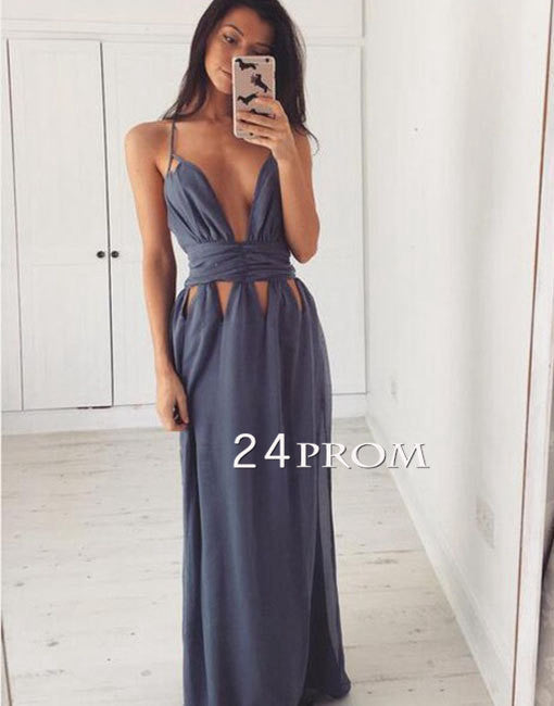 Simple gray chiffon long prom dress, evening dress