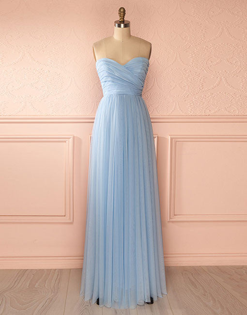 Blue sweetheart neck tulle long prom dress, blue bridesmaid dress