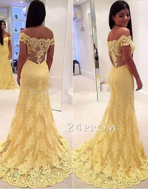 Yellow Lace off shoulder long Prom Dress, Evening Dress