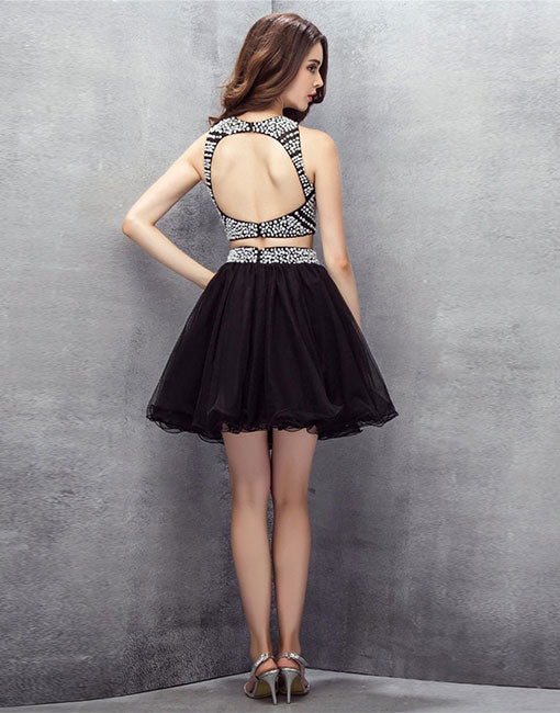 Black two pieces short prom dress, homecoming dress