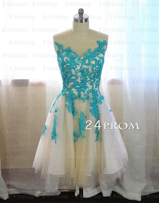 Tulle A-line round neckline Lace Short Prom Dresses, Homecoming Dresses