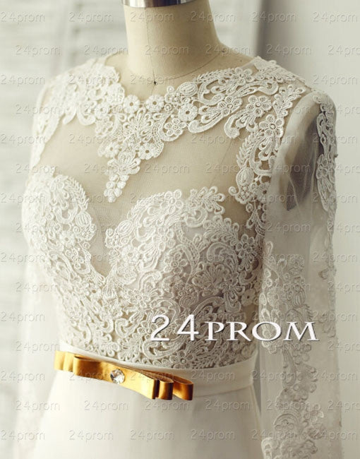 Custom Made A-line Lace Long Prom Dress, Wedding Dresses