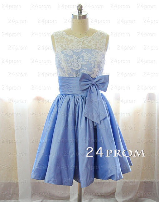 A-line Round Neckline Short Lace Prom Dresses, Bridesmaid Dresses
