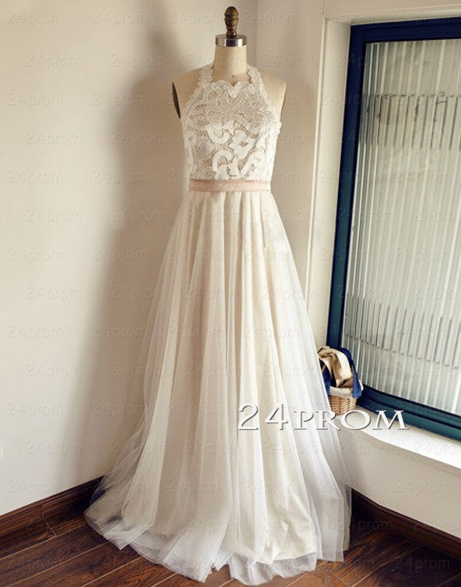 White A-line Lace Tulle Long Prom Dresses, Wedding Dresses