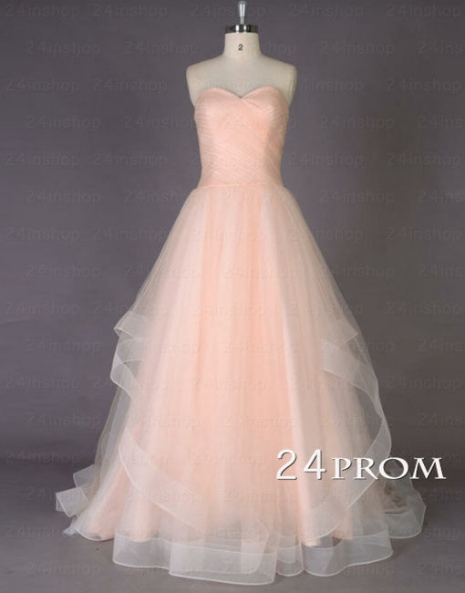 A-line Sweetheart Tulle Long Prom Dresses, Formal Dresses