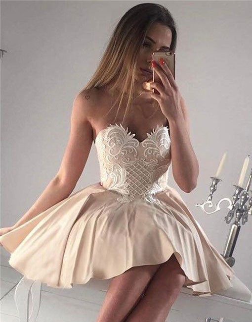 Champagne sweetheart neck lace applique short prom dress, cute homecoming dress