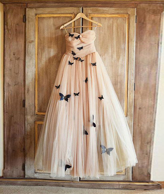 Simple tulle champagne long prom dress, champagne evening dress
