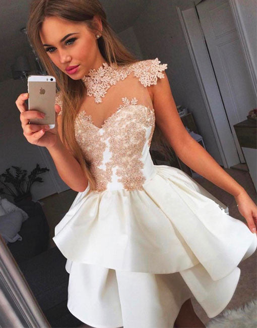 Cute white lace short prom dress, cute homecoming dress