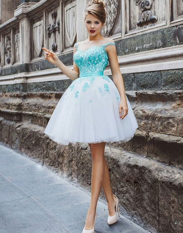 Cute round neck tulle lace applique short prom dress, homecoming dress