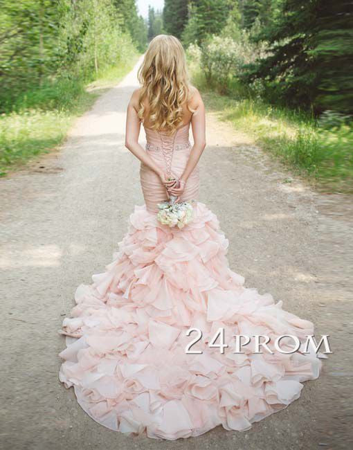 Light Pink A-line Sweetheart Long Wedding Dress,Wedding Gown