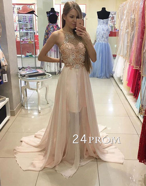 Unique round neck sequin beaded long prom dress, evening dress