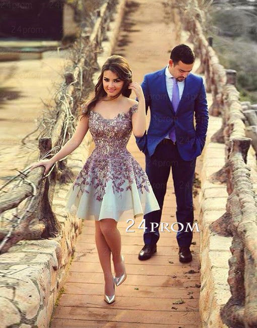 Lace cap sleeves Short Prom Dress, Homecoming Dress