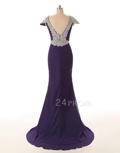 Custom Made Purple Chiffon sequin cap sleeve Long Prom Dress, Formal Dresses