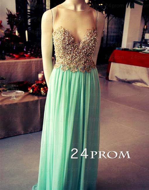 Green A-line Round Neckline Chiffon Long Prom Dresses, Formal Dress