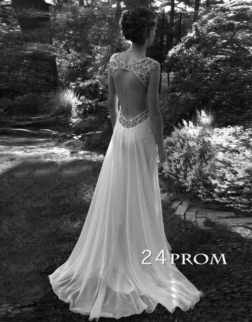 Custom Made A line Backless Chiffon Prom Dresses,Wedding Dresses