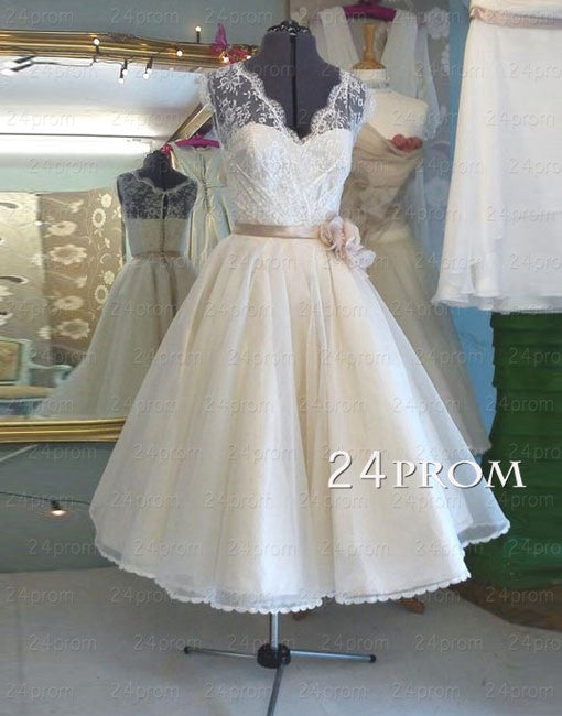 A-line Lace Tea-length Wedding Dress, Bridal Dress