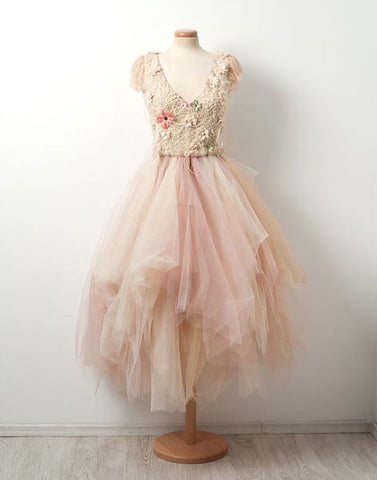 Unique v neck tulle short prom dress, cute homecoming dress