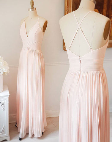 light pink v neck chiffon long prom dress, pink evening dress