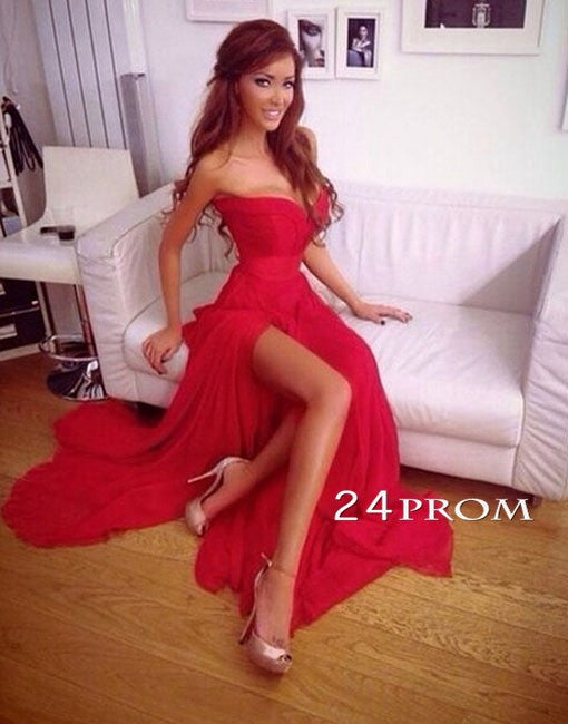 Red A-line Sweetheart Long Prom Dresses, Formal Dresses