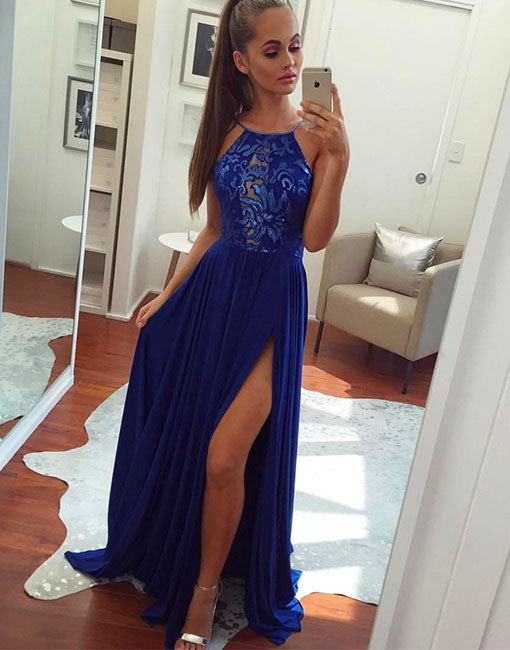 Simple chiffon lace applique blue long prom dress, evening dress