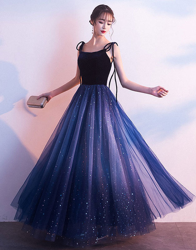 Blue tulle long prom dress, blue tulle long evening dress