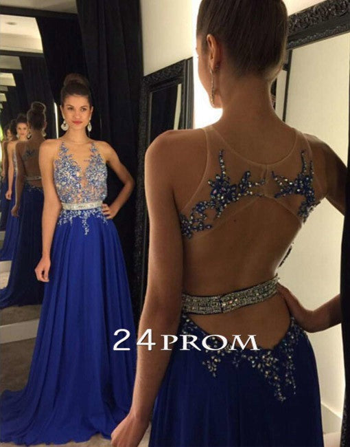Royal Blue A Line Lace Sequin Long Prom Dresses Formal Dresses Prom24