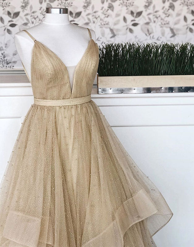 Champagne tulle long prom dress, champagne tulle formal dress