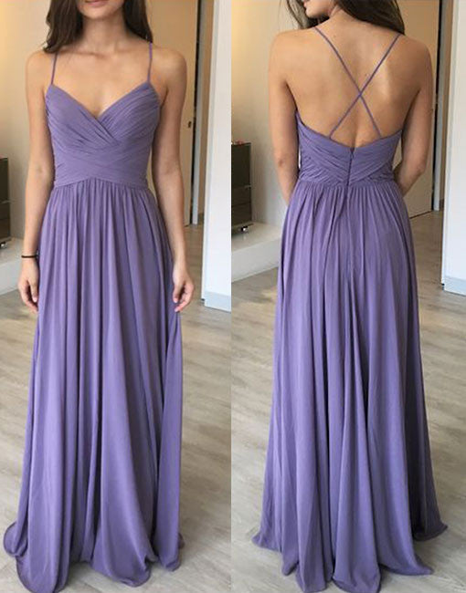 Elegant v neck chiffon long prom dress, bridesmaid dress