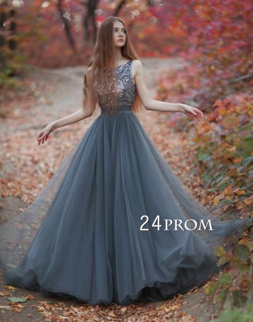 Gray A-line round neck tulle sequin long prom dress, evening dress