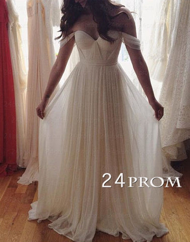 White A-line Chiffon Long Prom Dress, Evening Dress
