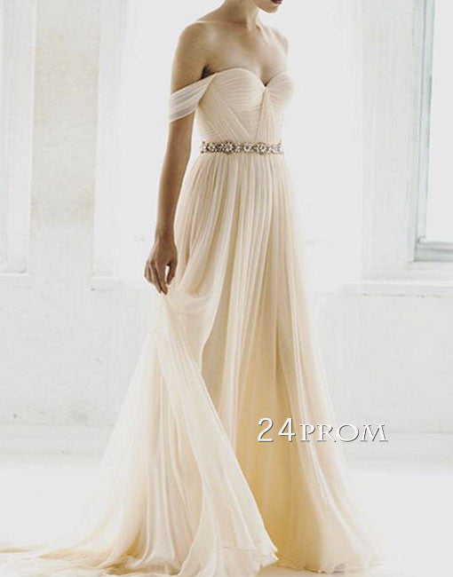 Simple champagne chiffon long prom dress, bridesmaid dress