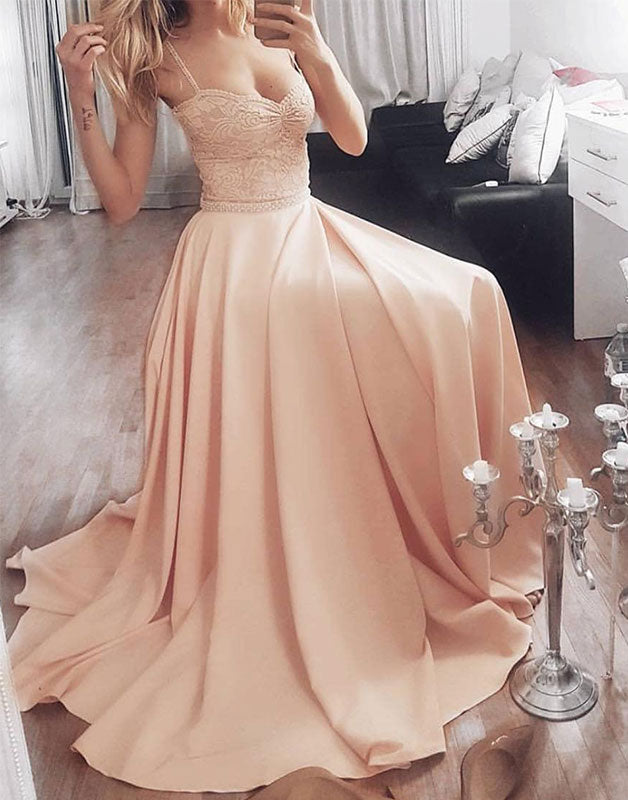 Champagne sweetheart lace long prom dress, evening dress
