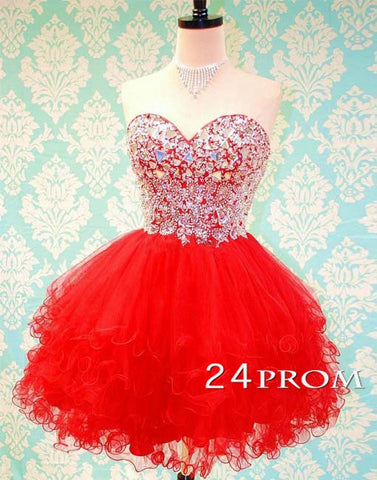 Sweetheart Ball Gown Red Rhinestone Short Prom Dress, Homecoming Dress