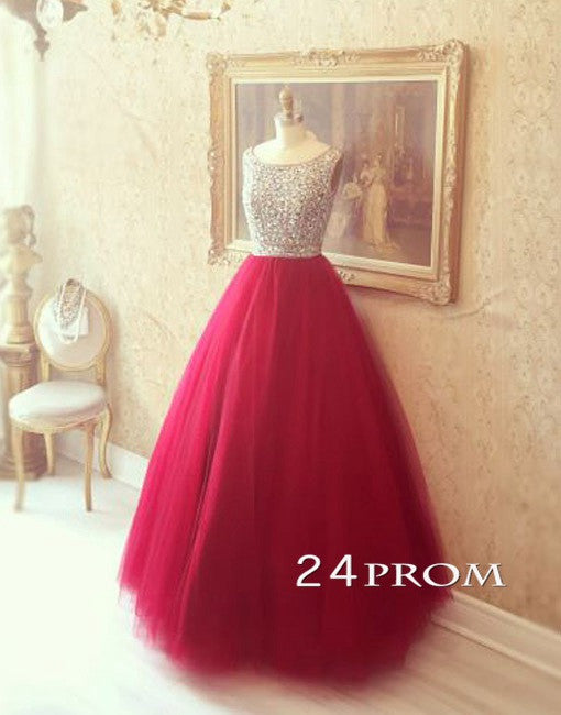Red Round Neck Tulle Rhinestone Long Prom Dresses, Evening Dresses