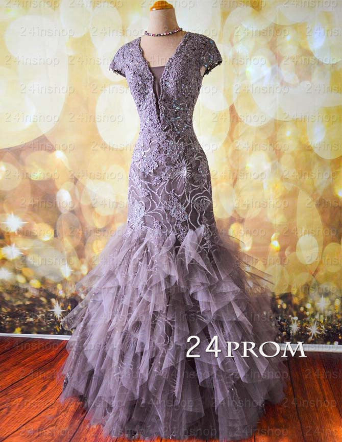 Amazinng V neckline Tulle Sequin Lace Long Prom Dresses, Evening Dresses