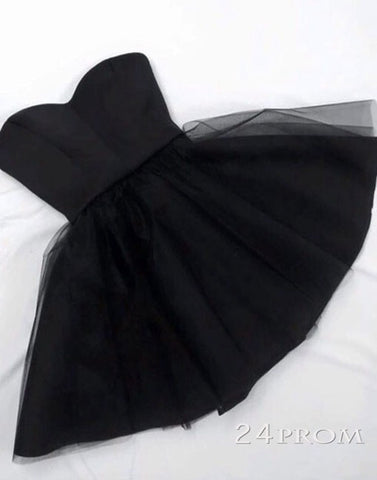 Simple A-line Sweetheart Neck Tulle Short Black Prom Dress, Homecoming Dress