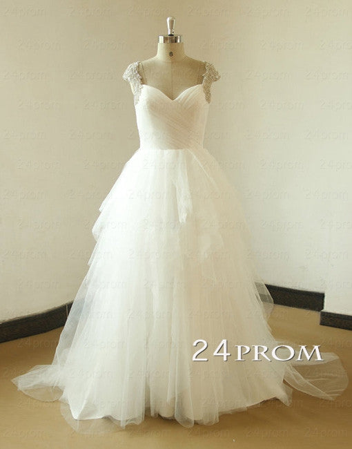 White Sweetheart Tulle Beaded Long Wedding Dresses, White Prom Dress