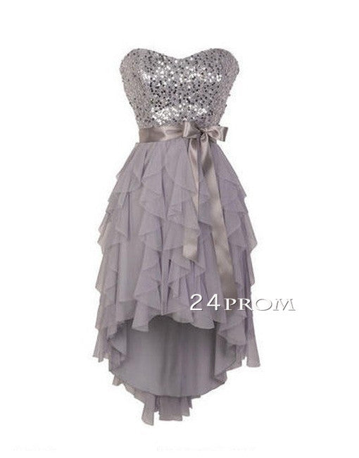 Sweetheart Neck Ruffled Sequin Short Prom Dress, Homecoming Dresses