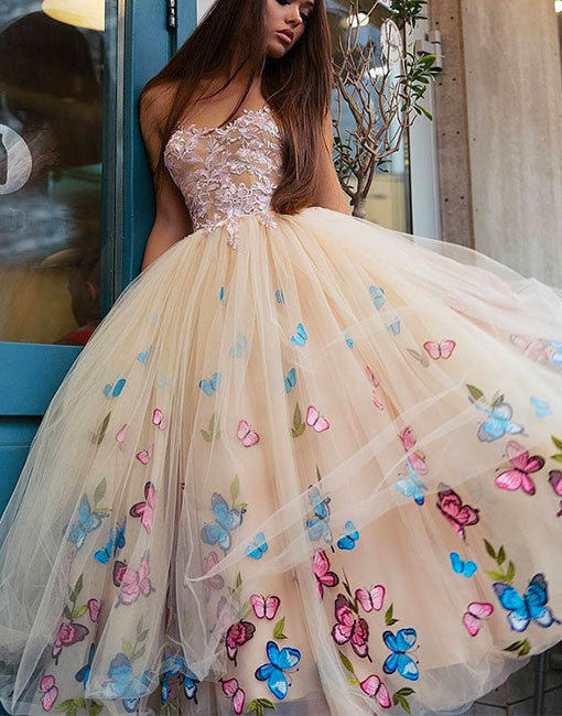 Cute champagne tulle tea length prom dress, champagne homecoming dress