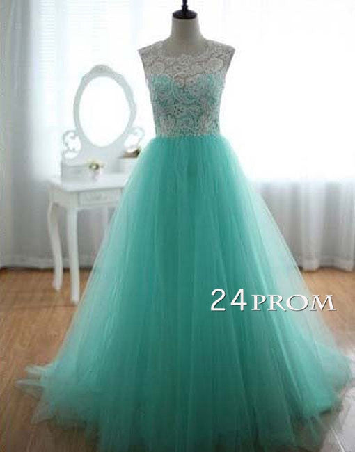 A-line Tulle and Lace round neckline Long Prom Dresses, Wedding