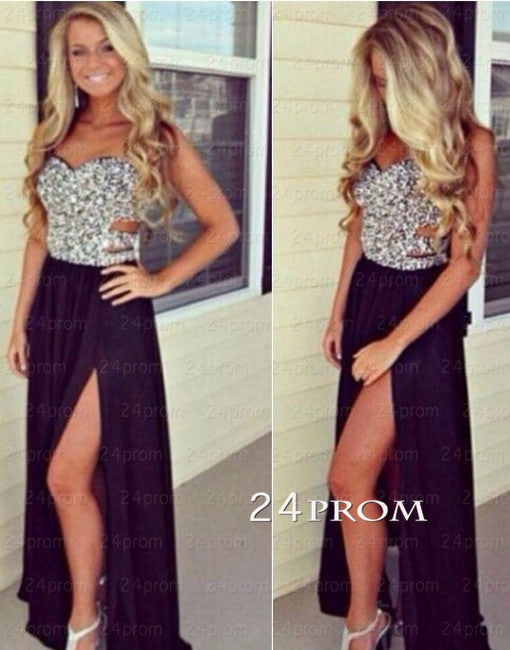 Amazing black chiffon long prom dresses, evening dresses