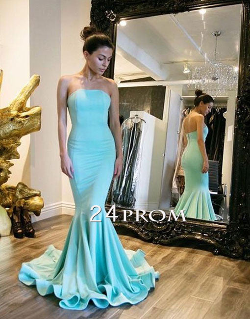 Simple blue long prom dress, blue bridesmaid dress