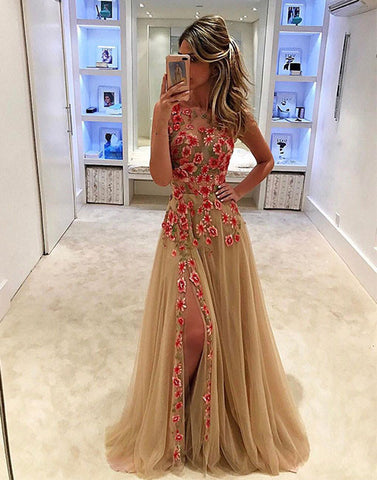 Unique champagne tulle applique long prom dress, evening dress for teens