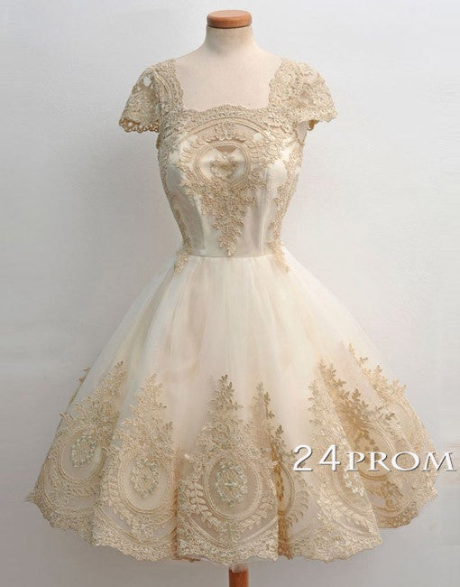 Light Champagne Lace Short Prom Dresses, Formal Dresses
