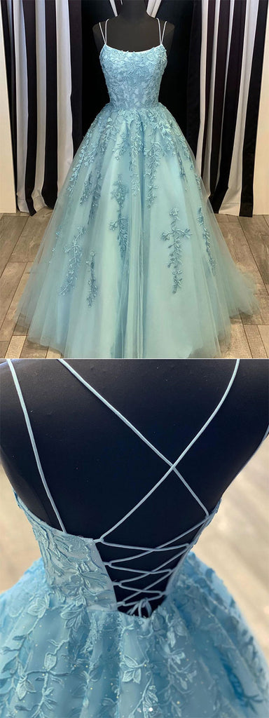 Blue tulle lace long prom dress blue tulle lace evening dress
