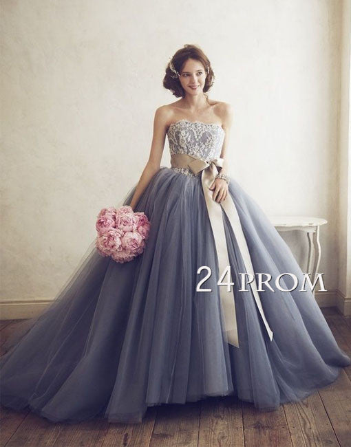 Custom Made Tulle Lace gray Prom Dress, Wedding Dress