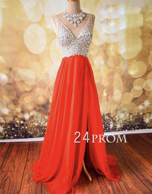 A-line V neckline Chiffon Long Prom Dress, Formal Dresses