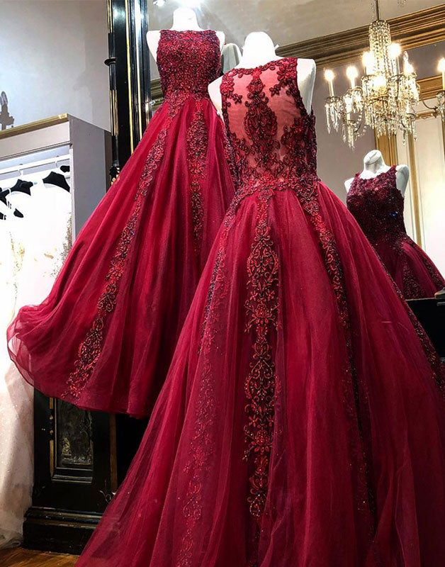 Burgundy tulle lace long prom dress, burgundy tulle lace evening dress