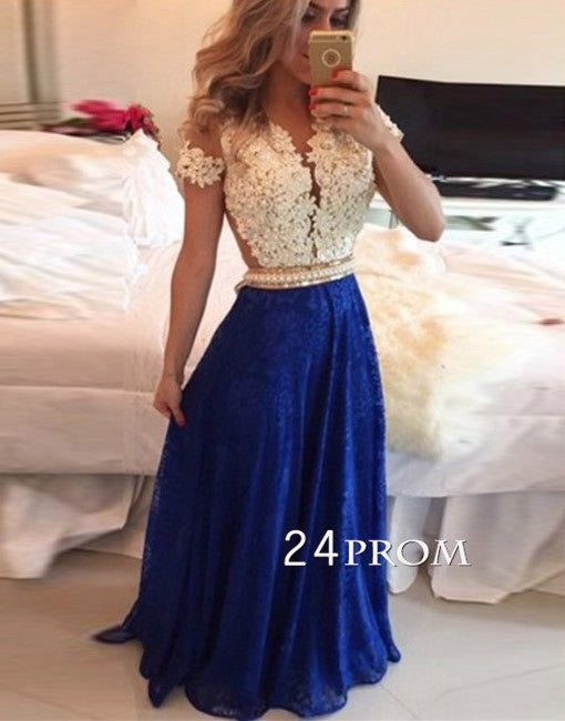 Royal Blue A-line chiffon lace long prom dresses, bridesmaid dress